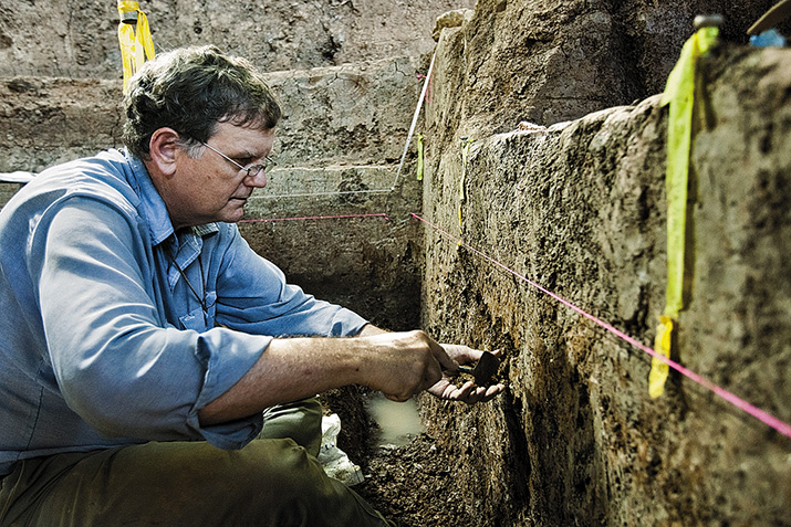 """Archaeologist Michael Waters (in Tennessee) challenges the idea that the Clovis people were the first in the Americas. (Baumann / Strupp)""Source: Smithsonian"