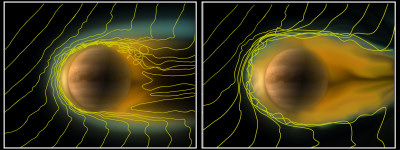 """A comparison of the ionosphere of Venus under different solar wind conditions."" Credit: ESA/Wei et al. (2012)"