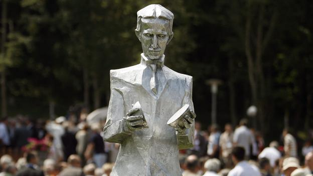 """One of several new monuments to commomereate scientist Nikola Tesla"" (Copyright: Getty Images)  Source: BBC"
