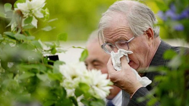 """Elderly man sneezing"" - AP"