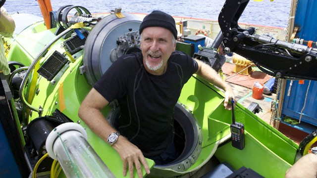 James Cameron reemerges from deep sea dive in the Mariana Trench.  Source: http://www.clickorlando.com/news/Cameron-emerges-from-alien-world-at-ocean-s-depths/-/1637132/9698762/-/qljr45z/-/index.html