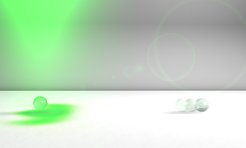"""Nanoparticles with a spin: A photonic wheel (indicated by the green spot on the white background) causes a nanoparticle in an optical trap to rotate around itself in the direction in which the light is propagating. As soon as the optical trap is opened, the particle's rotational motion causes it to hurtle away."" © Peter Banzer / MPI for the Science of Light Source: mpg.de"